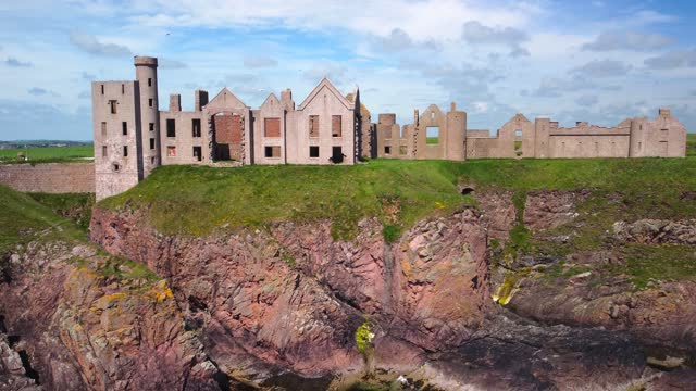 slains castle ruins in aberdeenshire, scotland, uk - ruined stock videos & royalty-free footage