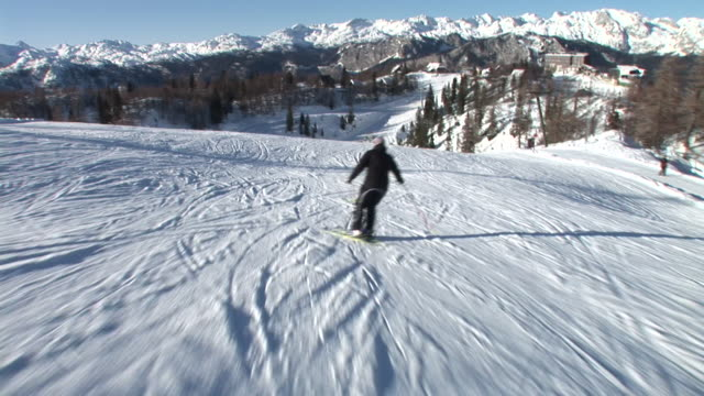 hd: slalom skiing - skiing and snowboarding stock videos and b-roll footage