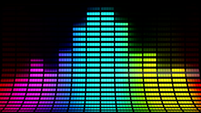 slanted graphic equalizer: multi-coloured, loopable background - synthesizer stock videos & royalty-free footage