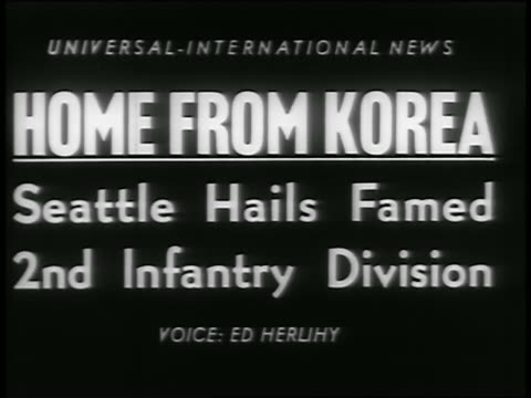 b/w 1954 slate home from korea seattle hails famed 2nd infantry division / newsreel - 1954 stock videos & royalty-free footage