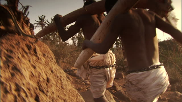 a slave driver whips slaves as they carry elephant tusks through a desert. - slavery stock videos & royalty-free footage
