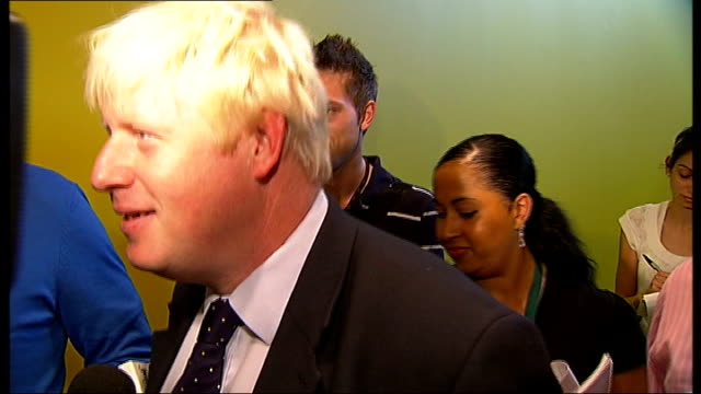 slavery memorial statue design unveiled at city hall; boris johnson speaking to press as along and away sot - on how team gb are doing at the beijing... - 2008年北京夏季オリンピック点の映像素材/bロール