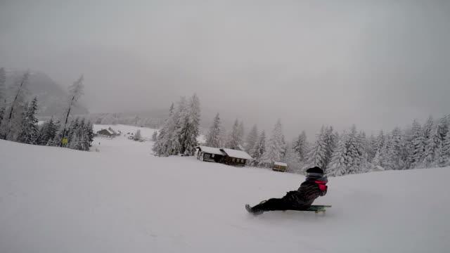 vídeos de stock, filmes e b-roll de pov sled riding in snow during winter - roupa de esqui