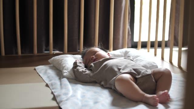 sleeping baby at home - crib stock videos & royalty-free footage