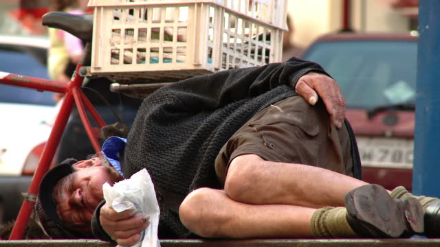 sleeping homeless - recession stock videos & royalty-free footage