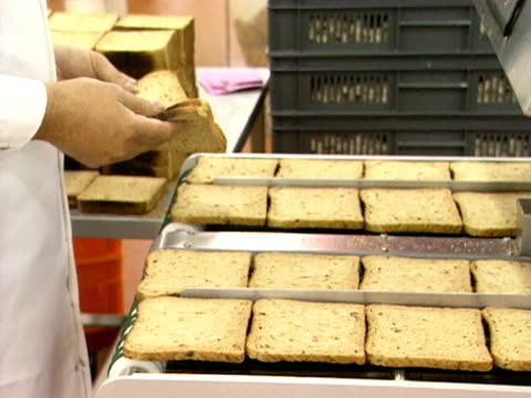Sliced bread enters for sandwiches is fed into a factory production line 1999