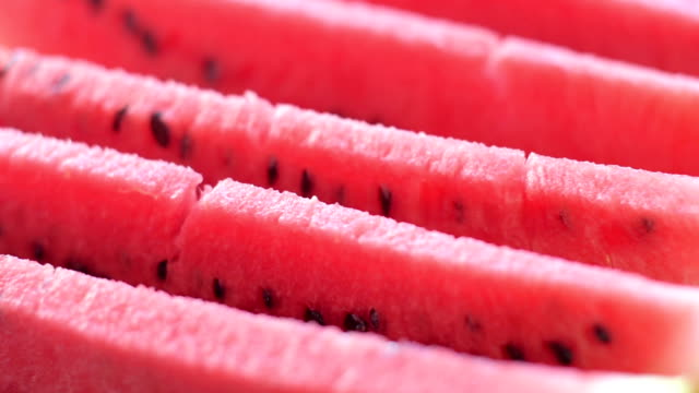 slices of juicy watermelon - chopped food stock videos and b-roll footage