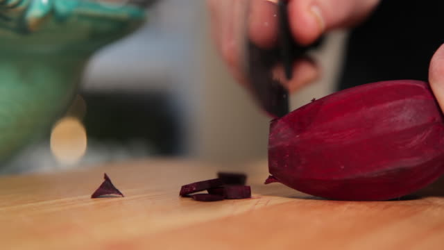 slicing beet in thin size - beet stock videos & royalty-free footage