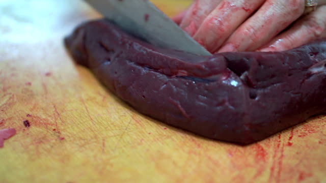 slicing calf liver - liver stock videos and b-roll footage