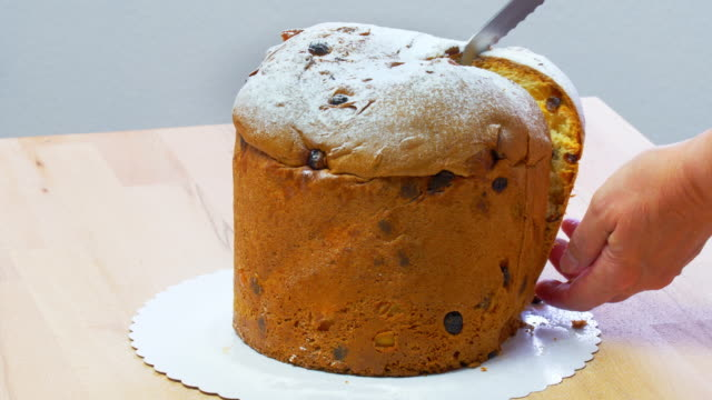 Slicing Christmas Panettone