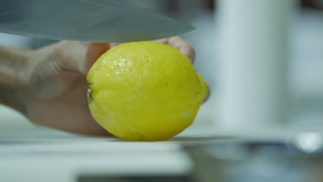 Slicing Lemons Close-up