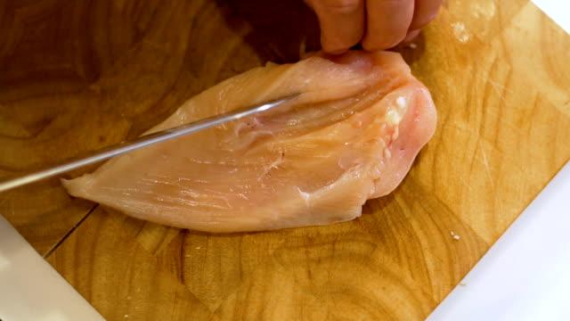 Slicing Raw Chicken, slo mo