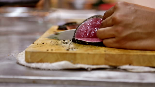 Slicing Tuna fillets, Cooking Gourmet Raw dish