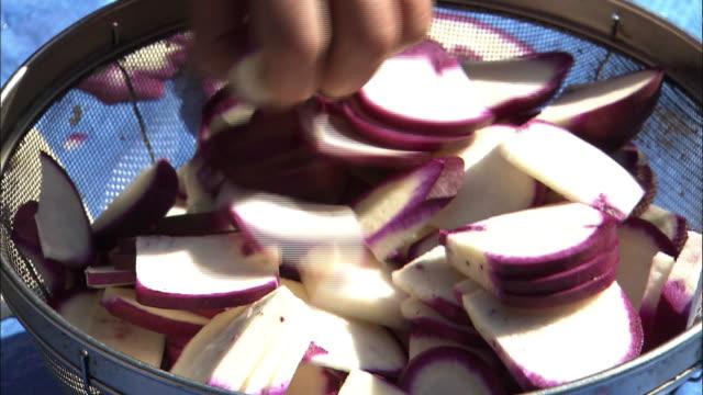 Slicing Turnips Called Iyohikabu, Ehime, Japan