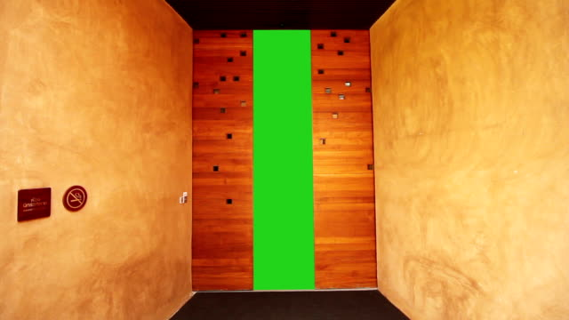 slide door with blank green screen for advertisment - wardrobe stock videos & royalty-free footage
