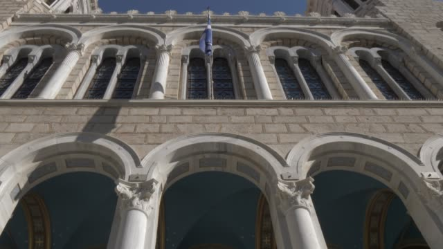 Slider and lifting shot of facade of Church St. Irene, Athens, Greece, Europe