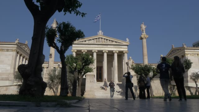slider shot of the academy of athens, athens, greece, europe - griechische flagge stock-videos und b-roll-filmmaterial