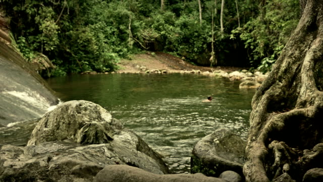 SLIDER:Brazil Jungle pool with natives swimming
