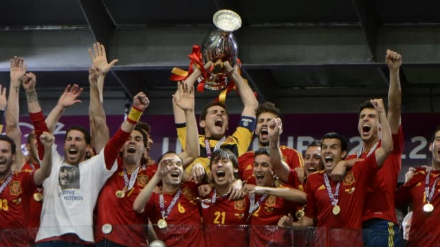 slideshow of euro 2012 football championships final match spain vs italy on july 1 2012 at the olympic stadium in kiev including fans celebrating in... - championships stock videos & royalty-free footage