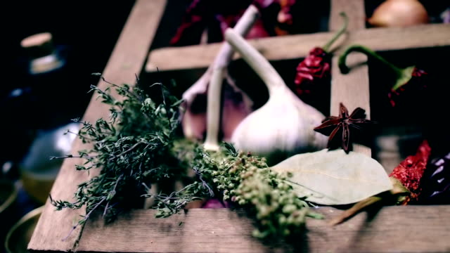 Sliding on spices and herbs cooking table
