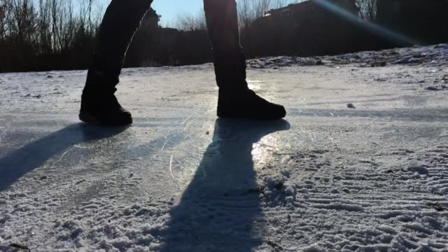 sliding on the ice - ice skating stock videos & royalty-free footage