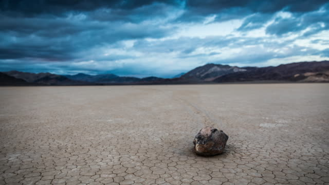 sliding rock at racetrack playa, death valley - usa - death valley national park stock videos & royalty-free footage