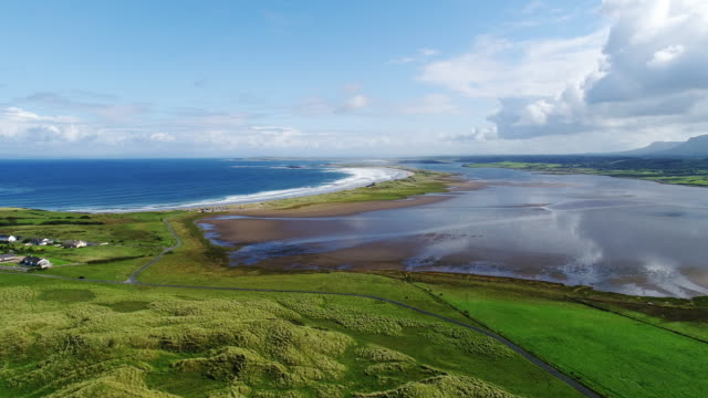 Sligo, Ireland - Aerial view of Streedagh beach