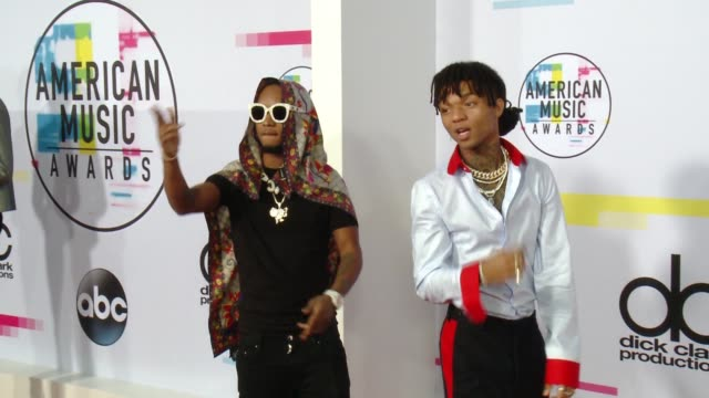 slim jimmy and swae lee at 2017 american music awards on november 19 2017 in los angeles california - american music awards video stock e b–roll