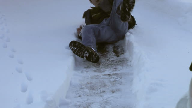 slip and fall (hd) - ice stock videos & royalty-free footage