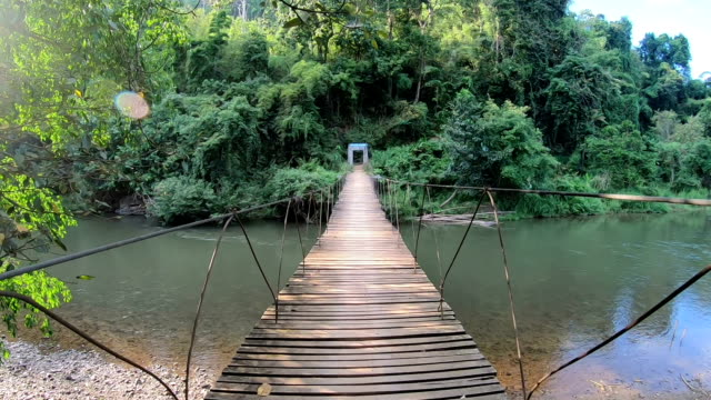 pov slo mo crossing wooden bridge. - ponte video stock e b–roll