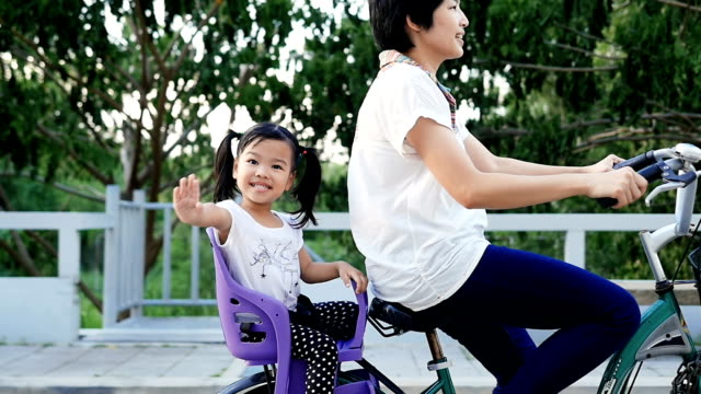 Slo Mo Happy Girls on bicycle with her mother