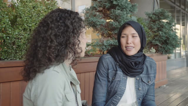 Slo Mo: Two Women of Middle Eastern Descent Having a Discussion on a Bench
