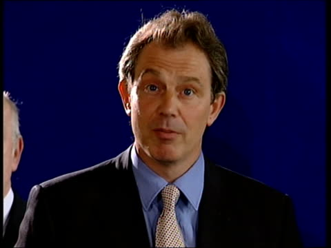 slobodan milosevic handed over to war crimes tribunal uk belfast int tony blair mp speaking to press sot reacts to news of extradition of slobodan... - slobodan milosevic stock videos and b-roll footage