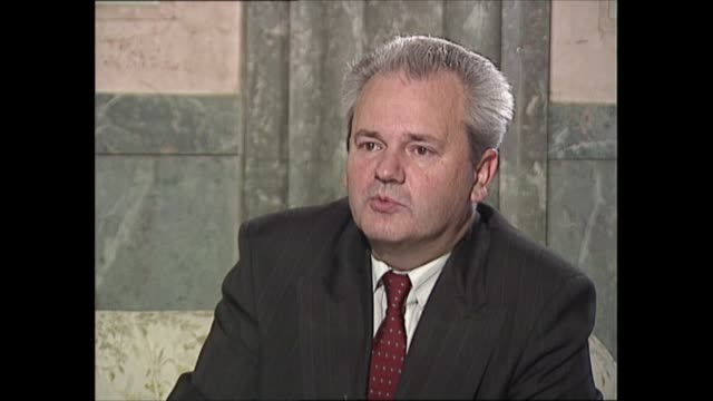 slobodan milosevic interview: part one; yugoslavia: serbia: belgrade: int slobodan milosevic interview sot q: what effect do you expect sanctions to... - justice concept stock videos & royalty-free footage