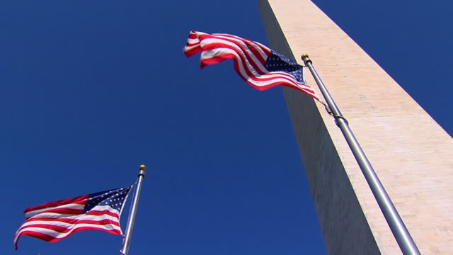 hd slomo american flags la1 (720/24p) - washington monument washington dc stock videos & royalty-free footage