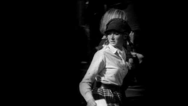 slomo pillarbox shots of fashionable women on london street; 1967 - nostalgia stock videos & royalty-free footage