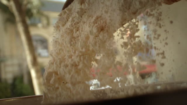 slomo sequence making bread dough - pane a lievito naturale video stock e b–roll