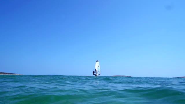 HD: Slo-Mo Shot of Young Man Windsurfing