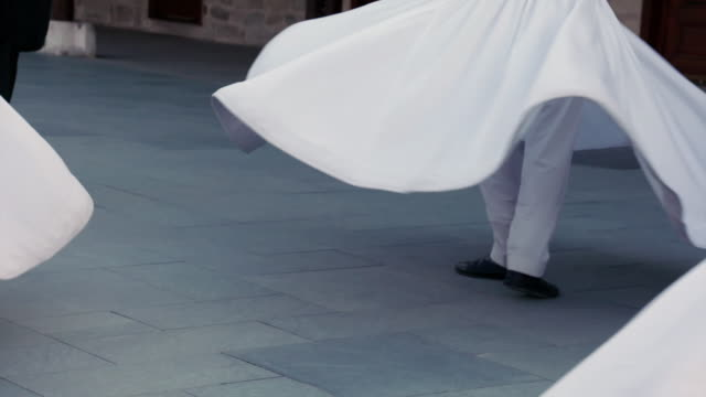 slomo skirts of whirling dervishes, turkey - sufism stock videos & royalty-free footage