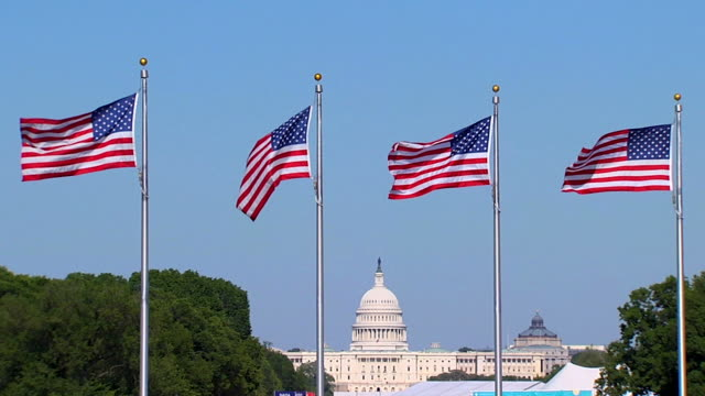 slomo noi capitale flags_3 hd (720/24p - partito repubblicano degli usa video stock e b–roll