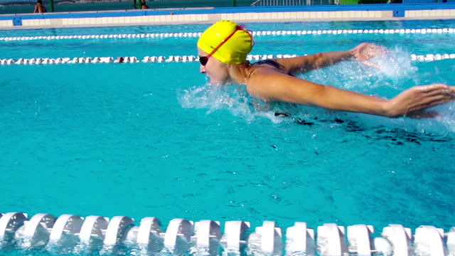 hd slo-mo:motion effect shot of young women swimming butterfly stroke - butterfly stroke stock videos and b-roll footage