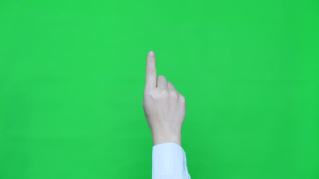 vídeos de stock e filmes b-roll de slo-mo:one touch,hand with green screen - agenda eletrónica