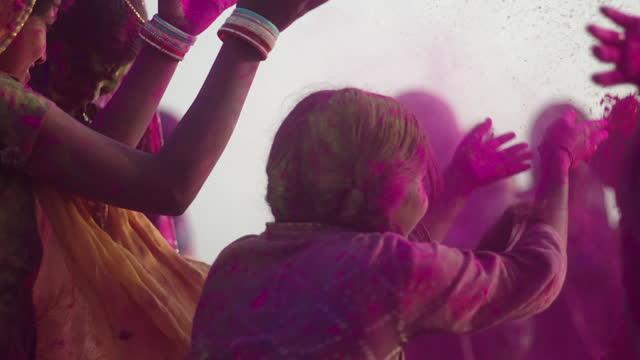 "slomos celebration of holi, india - ""bbc universal"" stock videos & royalty-free footage"