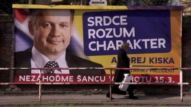 vídeos de stock e filmes b-roll de slovak prime minister robert fico is poised to win a presidential election that begins saturday, sparking concern that his leftist social democrats... - cultura da europa de leste