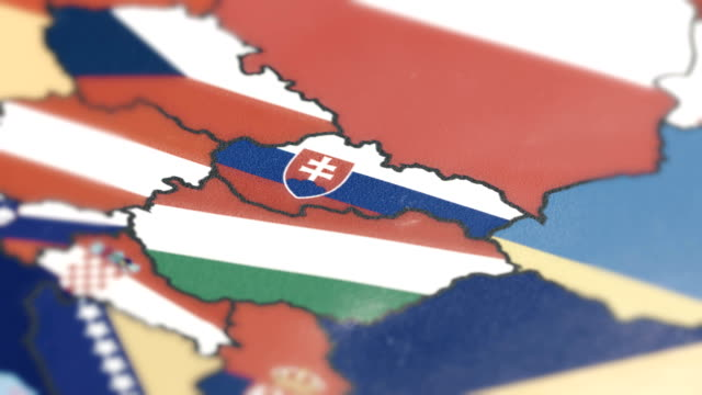 Slovakia Borders wiht National Flag on World Map