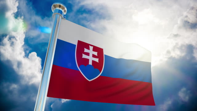 4k slovakia flag - loopable stock video - country geographic area stock videos & royalty-free footage