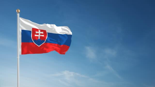 4 k der slowakei flagge-endlos wiederholbar - osteuropäische kultur stock-videos und b-roll-filmmaterial