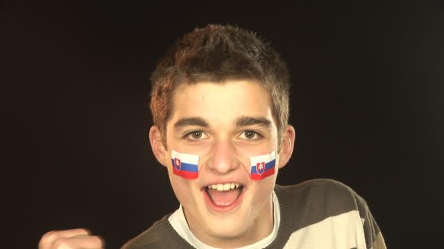 slovakia football / sports fan - hd & pal - fan enthusiast stock videos and b-roll footage