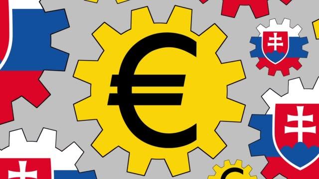 スロバキアの旗とユーロ記号歯車回転ズーム アウトの背景 - 金銭に関係ある物点の映像素材/bロール