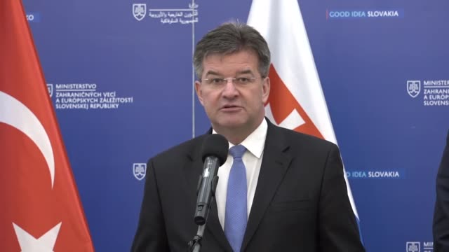 slovakian foreign minister miroslav lajcak speaks during a joint press conference with foreign ministers mevlut cavusoglu of turkey marcin przydacz... - foreign minister stock videos and b-roll footage